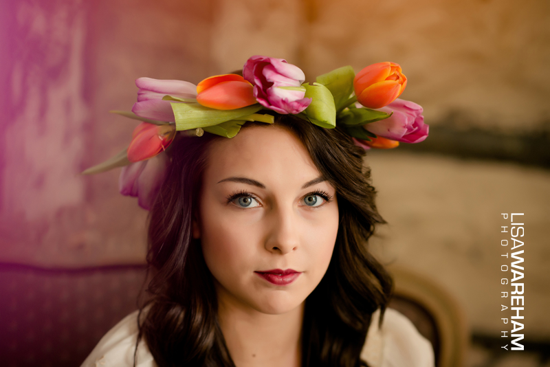 Flower crown on antique Victorian chair, in front of old tin ceiling torn out of the Sears Building.